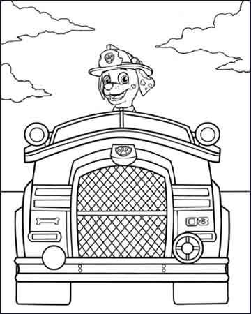 Marshall en su camion de bomberos la patrulla canina - Desenhos para colorir