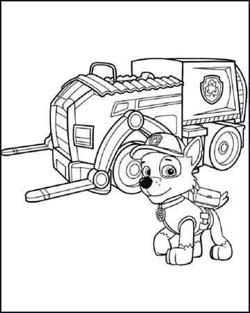 Rocky con su camion para reciclar la patrulla canina - Desenhos para colorir