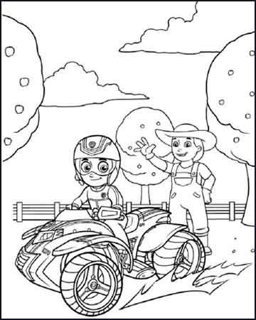 Ryder en una moto quat la patrulla canina - Desenhos para colorir