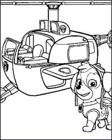 Skye y su helicoptero dibujos para imprimir patrulla canina - Desenhos para colorir