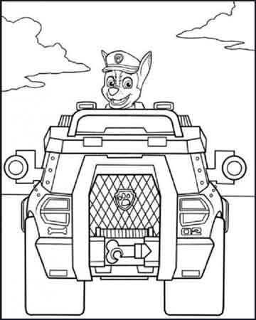 vehiculo patrulla canina para colorear - Desenhos para colorir